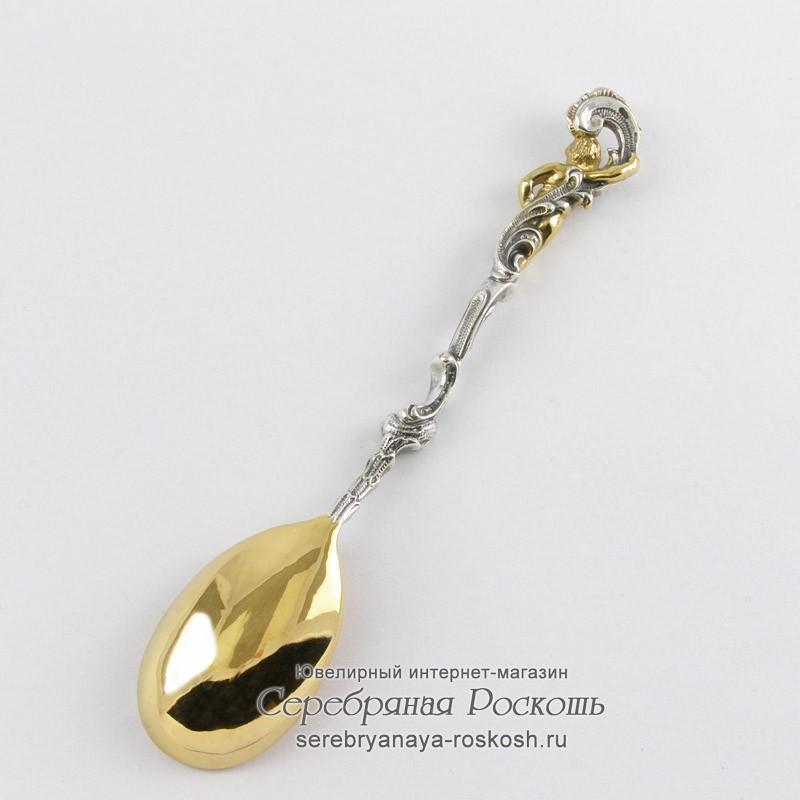 Серебряная чайная ложка Ангелочек