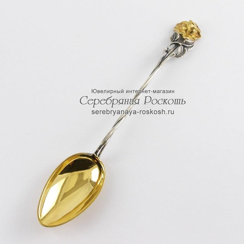 Серебряная чайная ложка Роза
