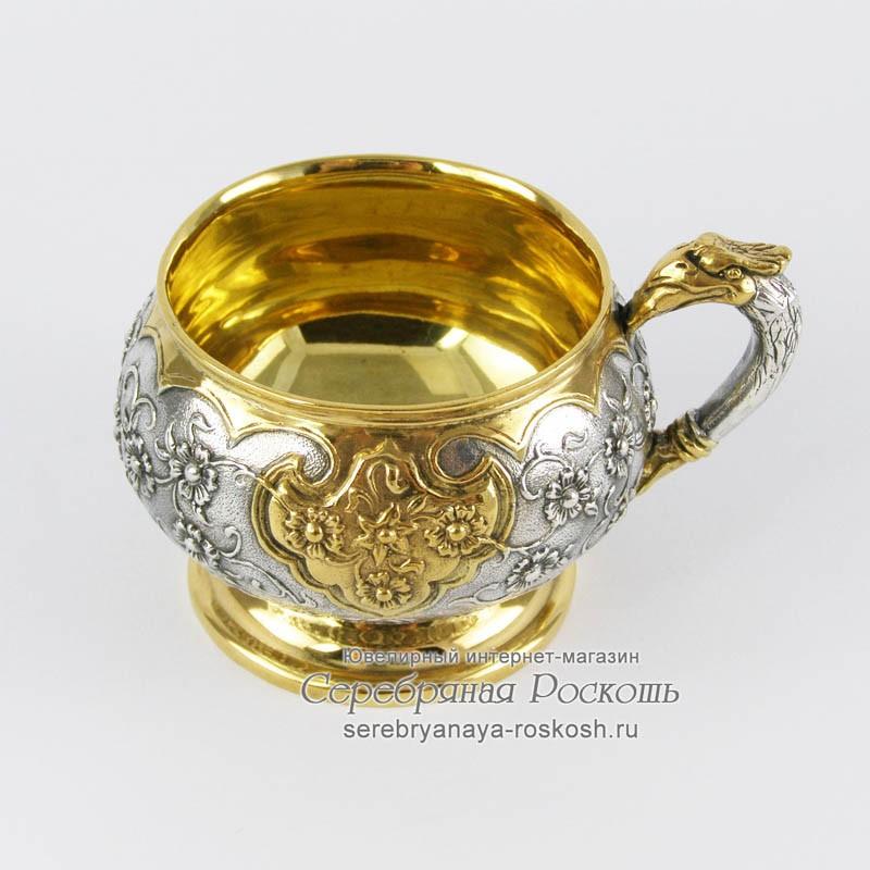 Серебряная кофейная чашка с блюдцем Жар птица