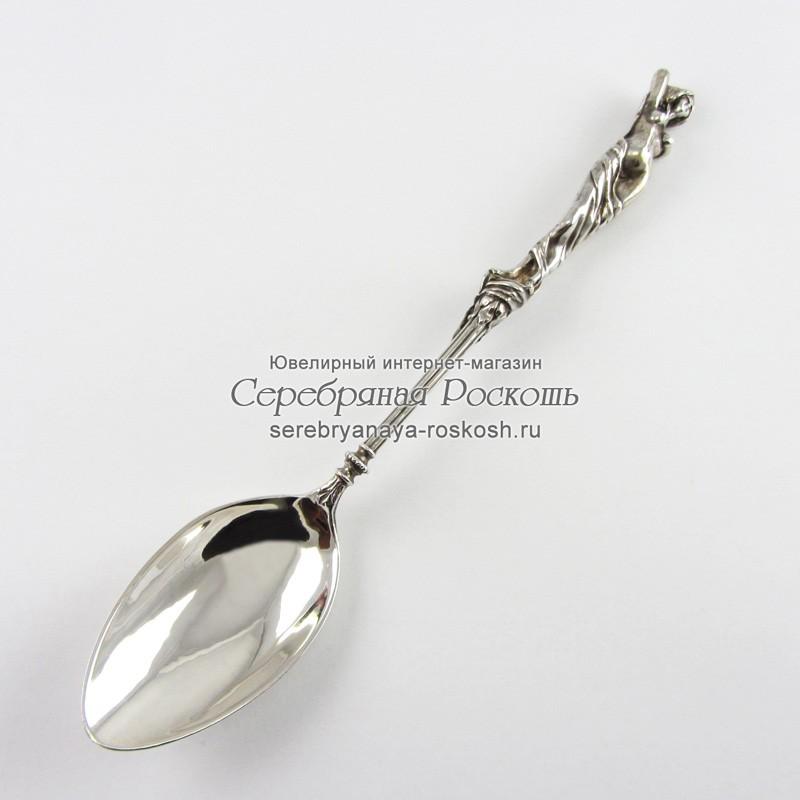 Десертная ложка из серебра Девушка