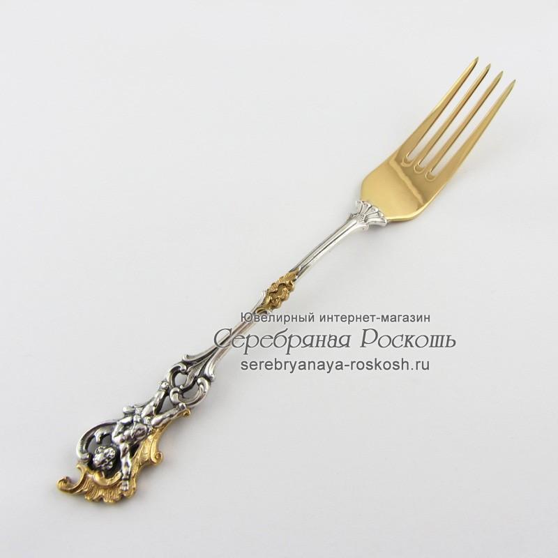 Вилка из серебра десертная Ангелочек