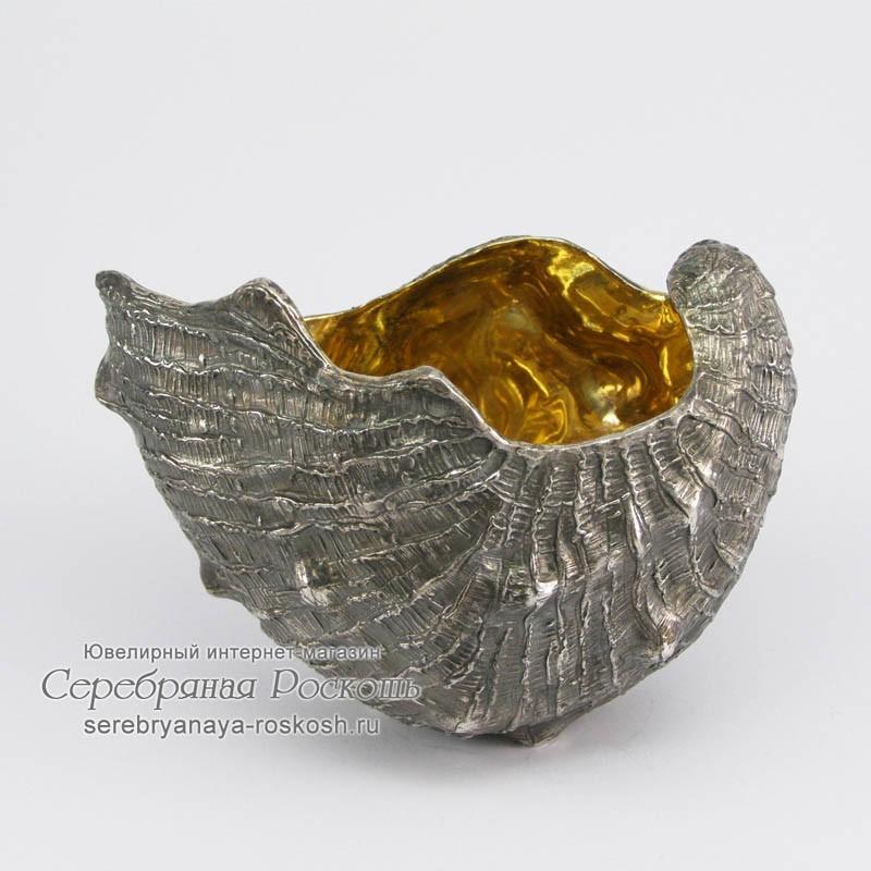 Серебряная икорница открытая Ракушка