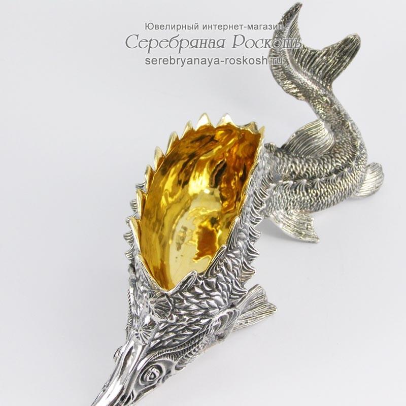 Серебряная икорница Осетр