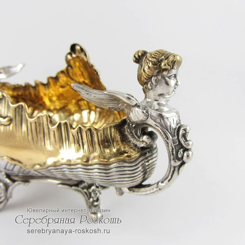 Серебряная конфетница Ангелочки