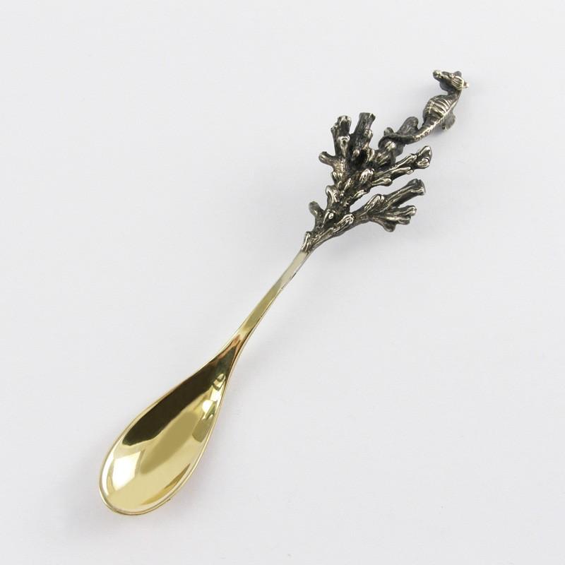 Серебряная ложка для икры Морской конек