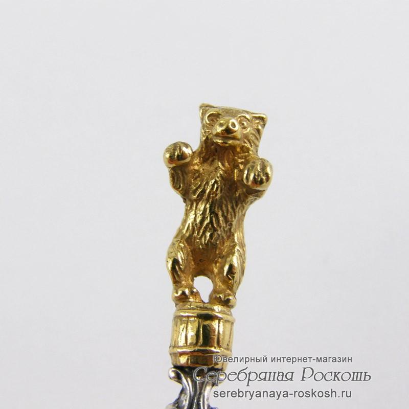 Серебряная чайная ложка Медведь