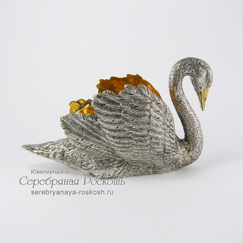 Паштетница из серебра Лебедь