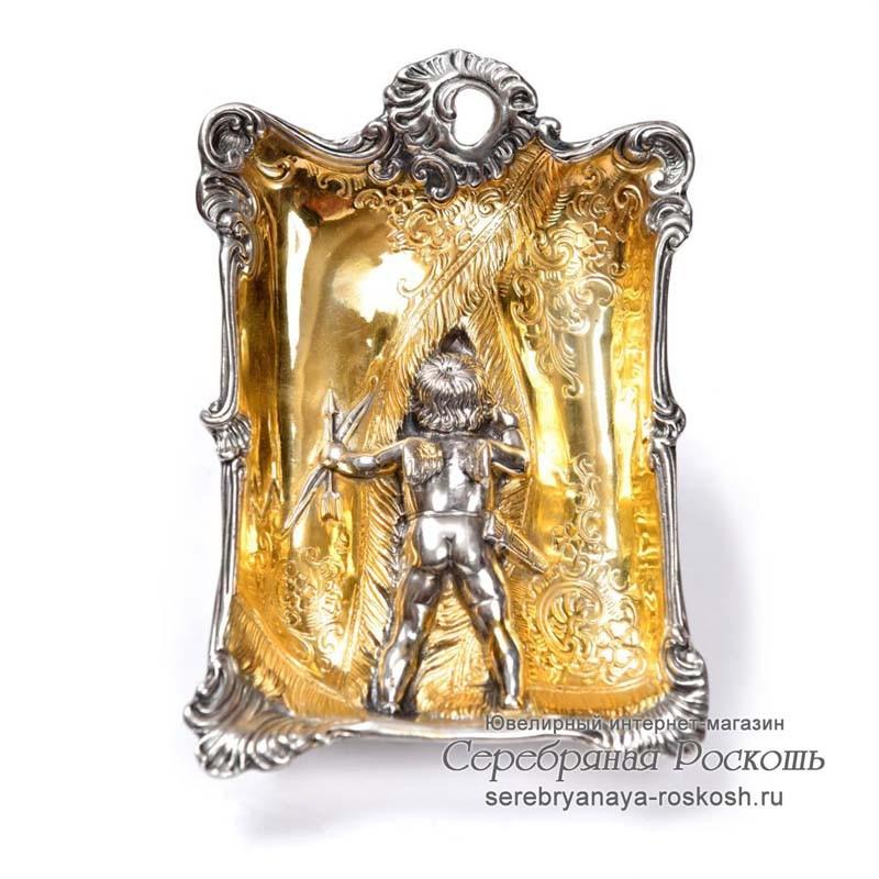 Серебряная пепельница Ангел