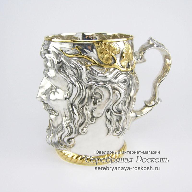 Серебряная пивная кружка Зевс