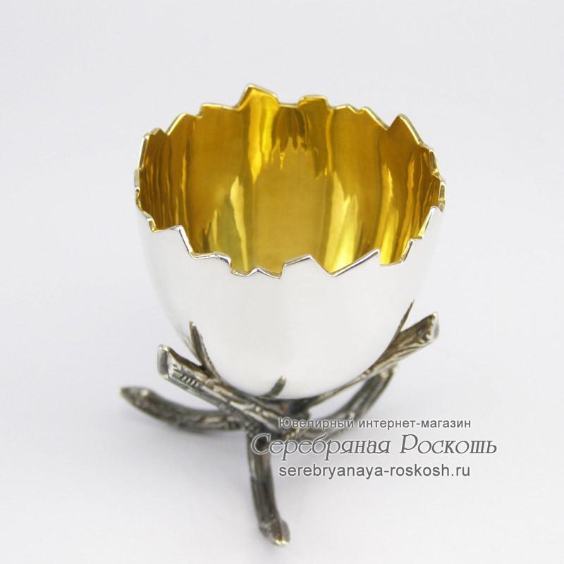 Серебряная подставка для яйца Скорлупа