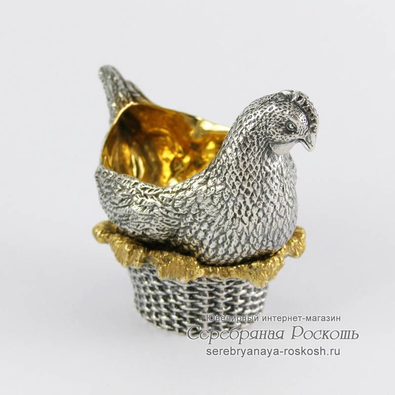Серебряная подставка для яйца Курочка