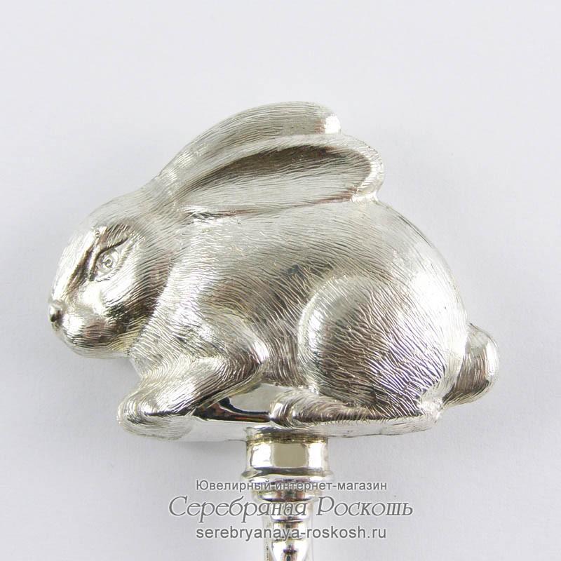 Серебряная погремушка Кролик