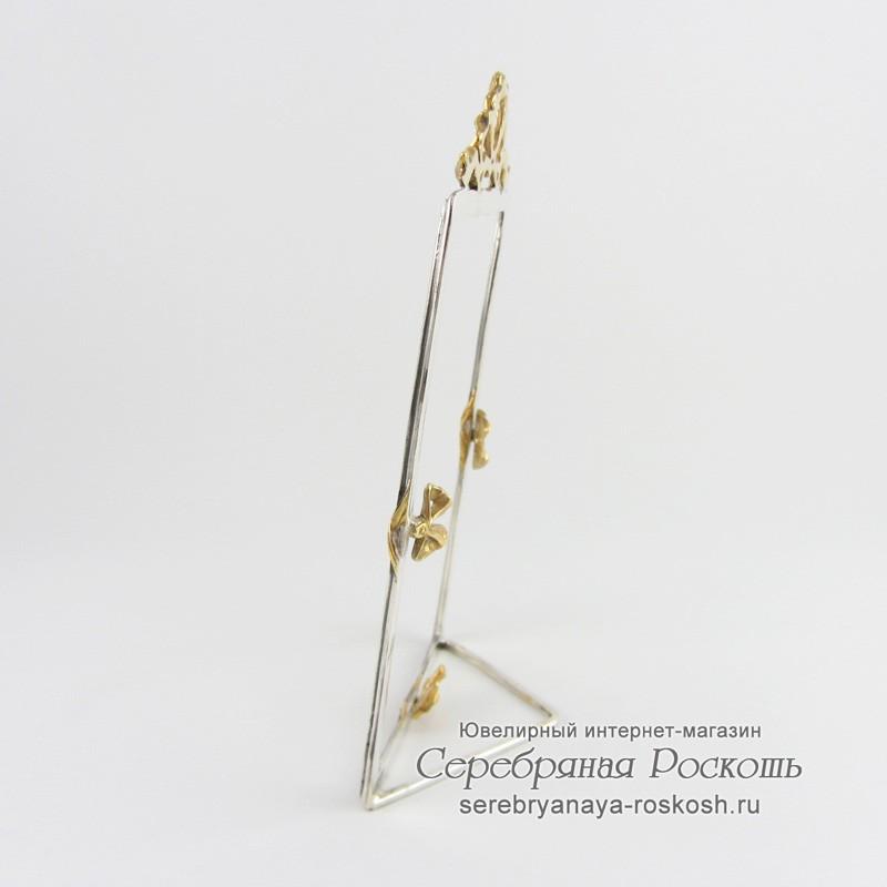 Серебряная рамка для фото Бантик (прямоугольная)