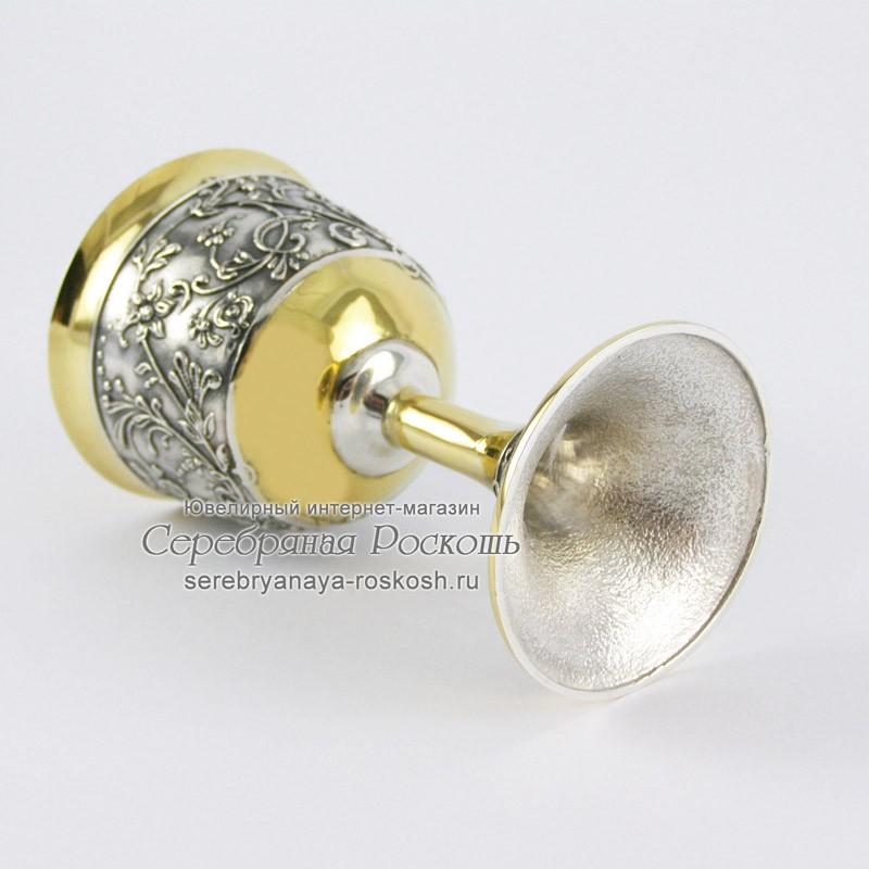 Серебряная рюмка на ножке Девушка в кокошнике