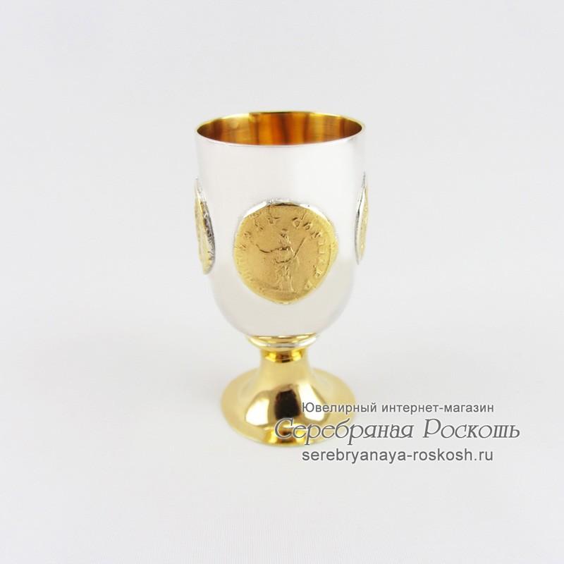 Серебряная рюмка на ножке Римские монеты