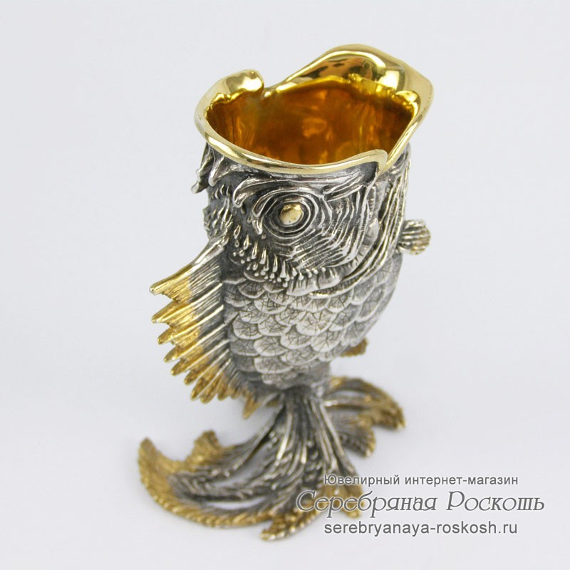 Серебряная рюмка Рыбка Ёрш