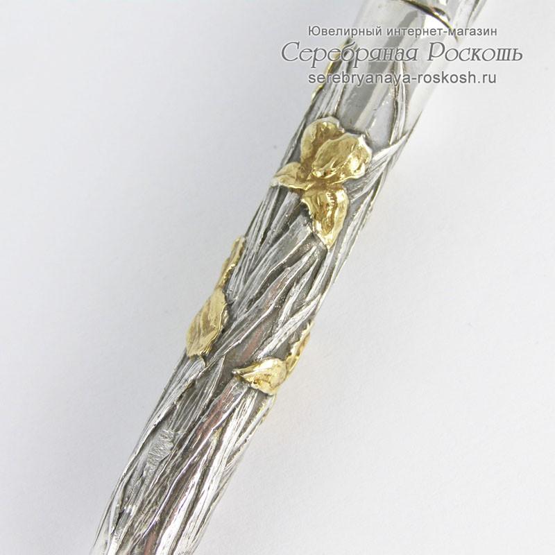Серебряная шариковая ручка Ирисы