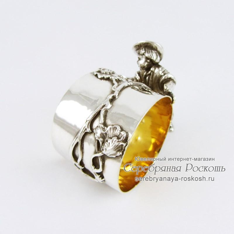 Серебряная салфетница Маки