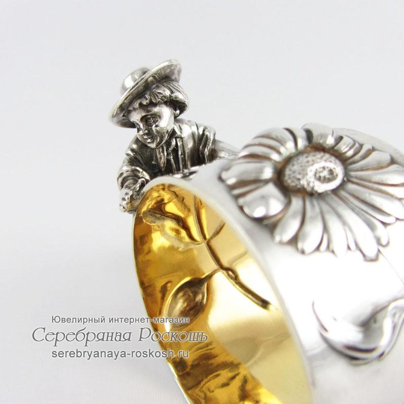 Серебряная салфетница Ромашки