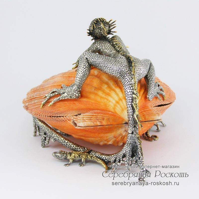 Серебряная шкатулка Девушка-ящерица