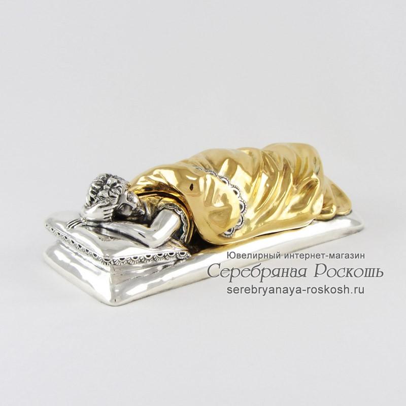Статуэтка из серебра Девушка под одеялом