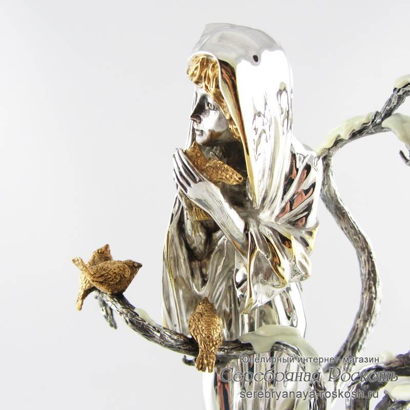 Серебряная статуэтка Девушка Зима