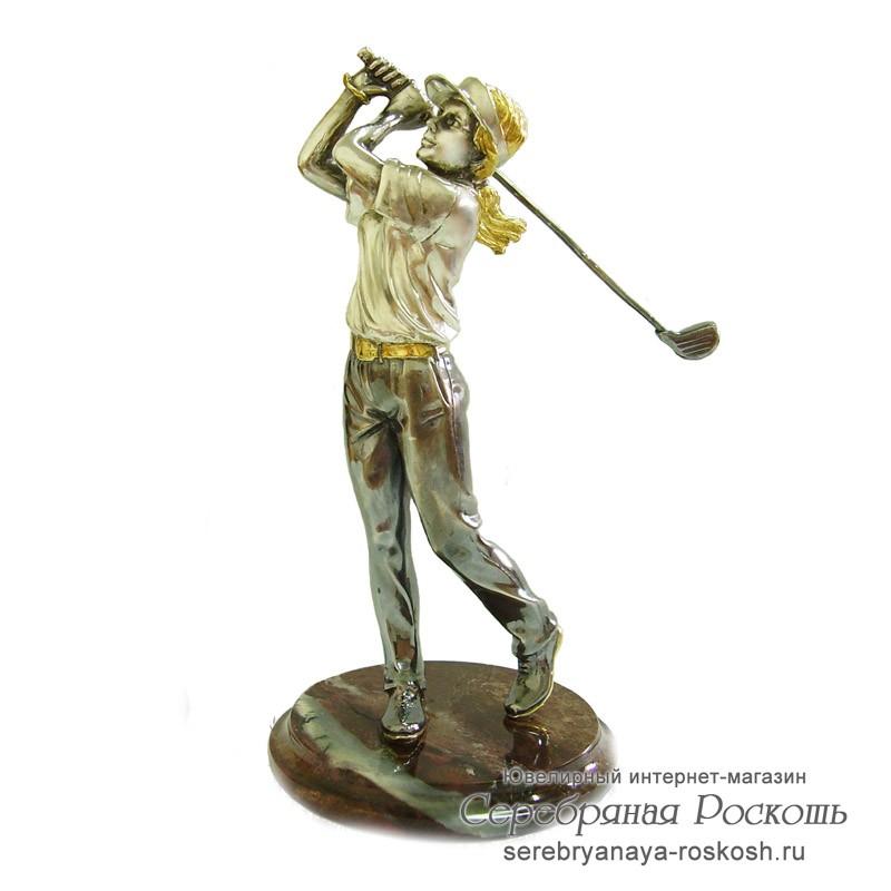 Серебряная статуэтка девушка играющая в гольф
