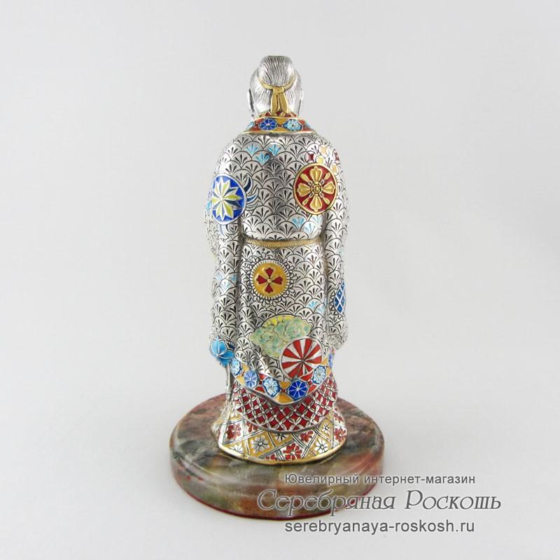 Серебряная статуэтка с эмалями Конфуций