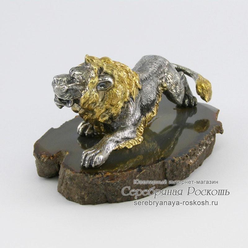 Серебряная статуэтка Лев