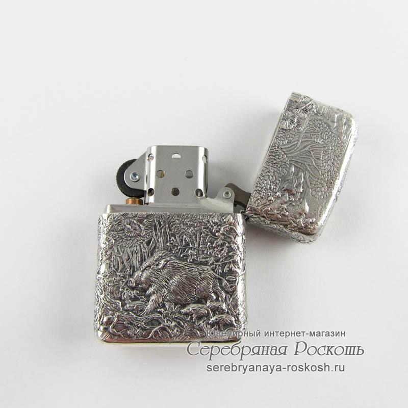 Серебряная зажигалка Zippo - Охота