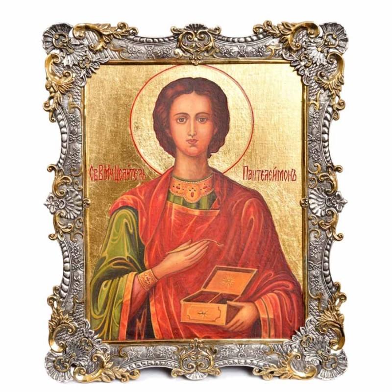 Серебряная икона Пантелеймона Целителя