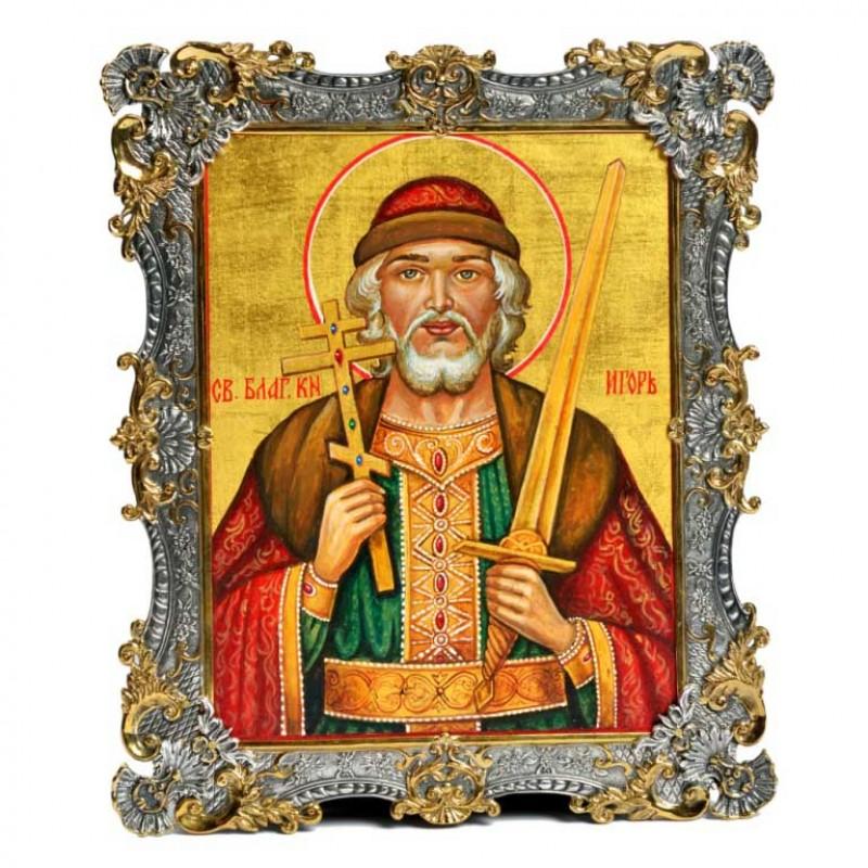 Серебряная икона Святой Князь Игорь