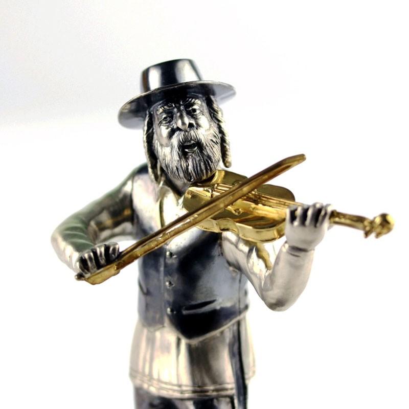Серебряная статуэтка Музыкант со скрипкой