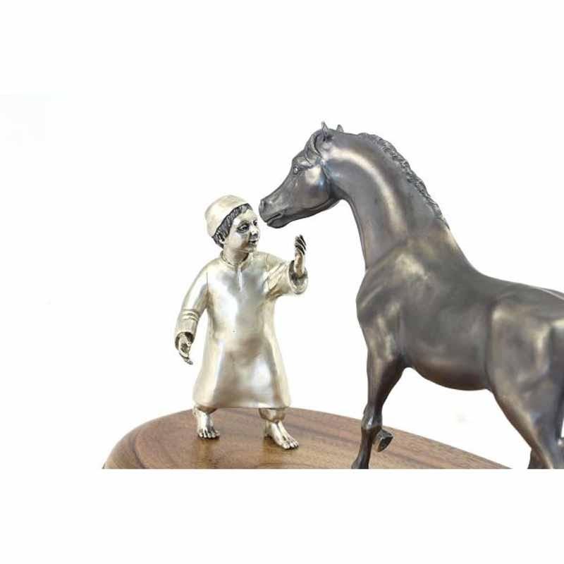 Серебряная композиция Мальчик с Конем