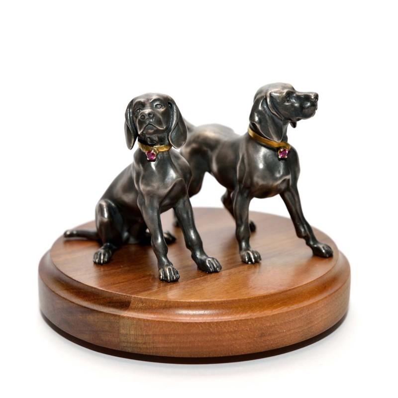 Серебряная статуэтка собаки Гончие