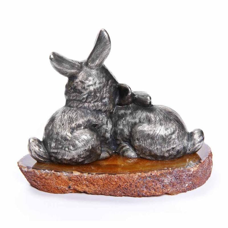 Серебряная статуэтка Зайцы