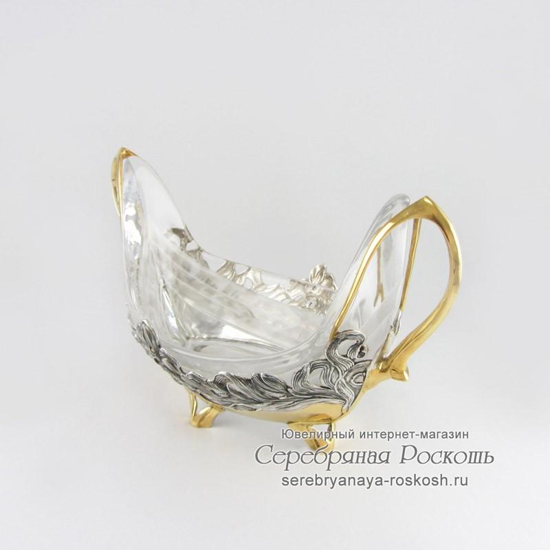 Серебряная конфетница Ладья