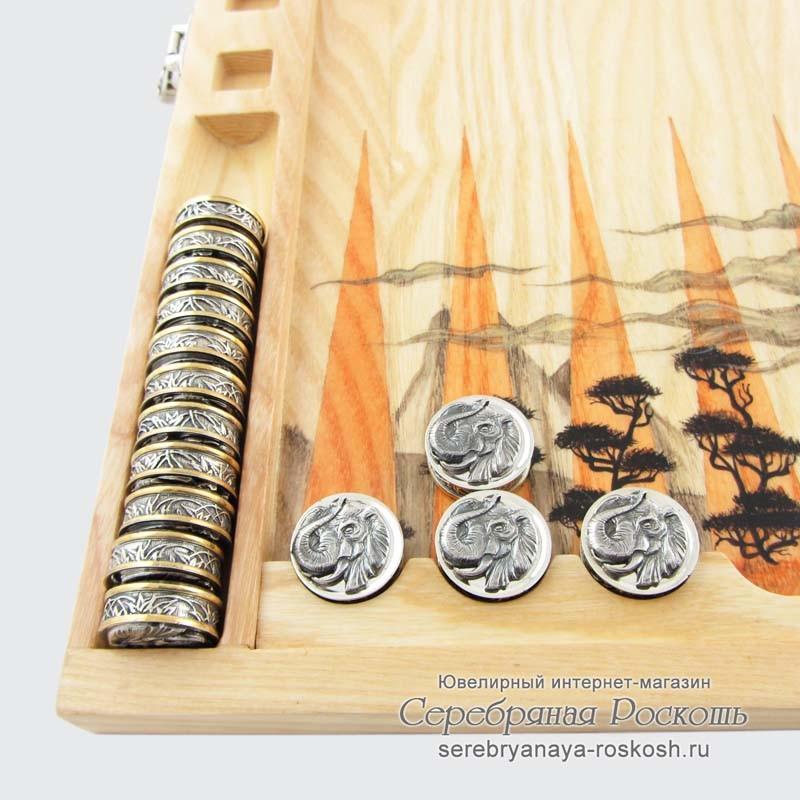 Нарды из серебра Тигры и Слоны