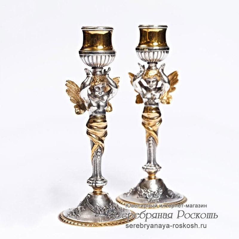 Серебряные подсвечники Ангелы