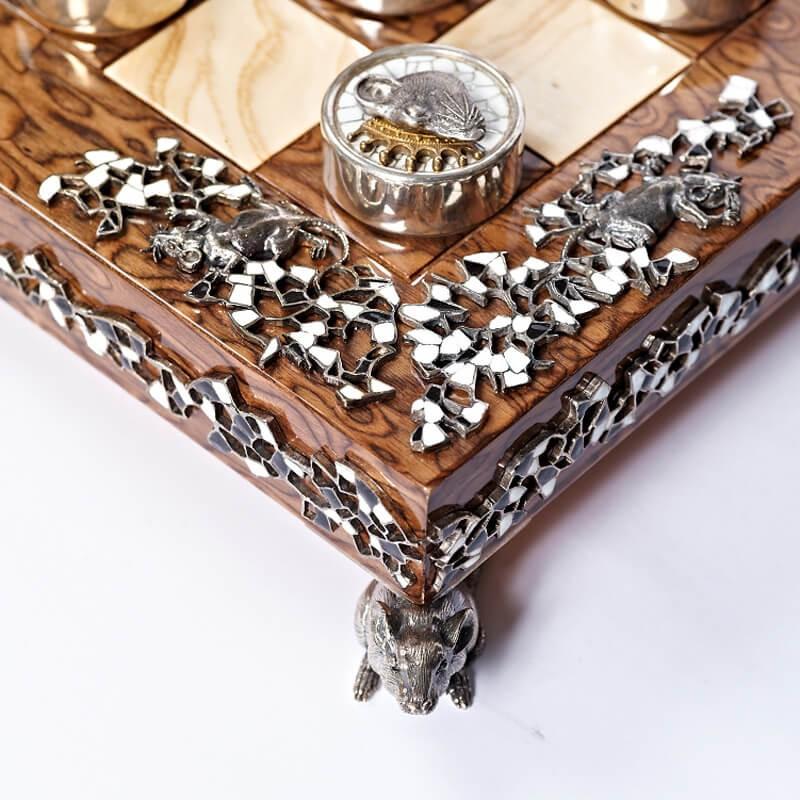 Серебряные шашки Вороны и Крысы - Обрамление доски