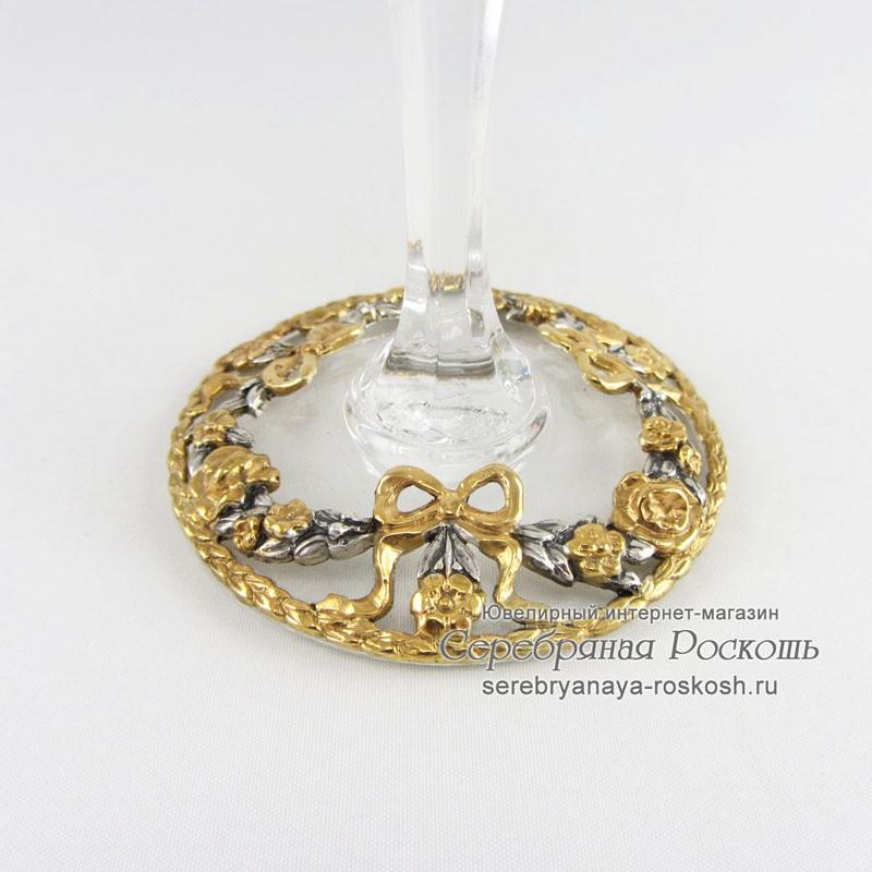 Свадебные хрустальные бокалы в серебре