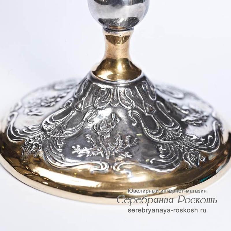Серебряный бокал Цветы