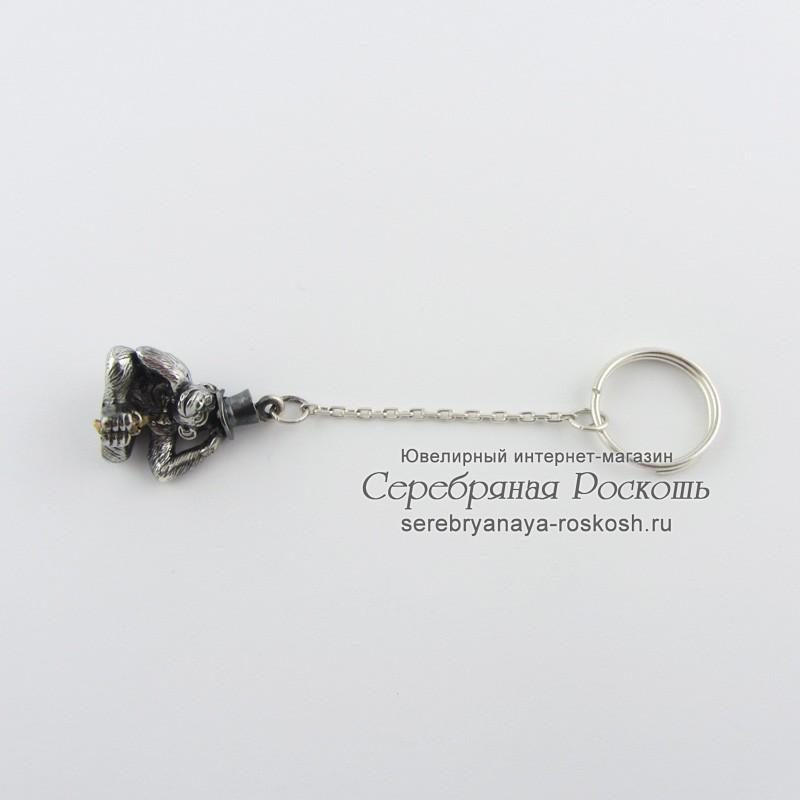 Серебряный брелок для ключей Обезьяна