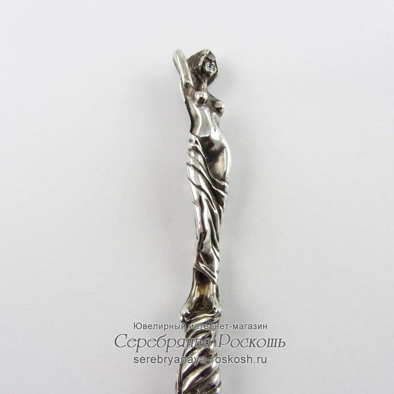 Десертный нож из серебра Девушка