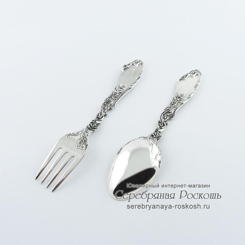 Серебряные детские ложка и вилка