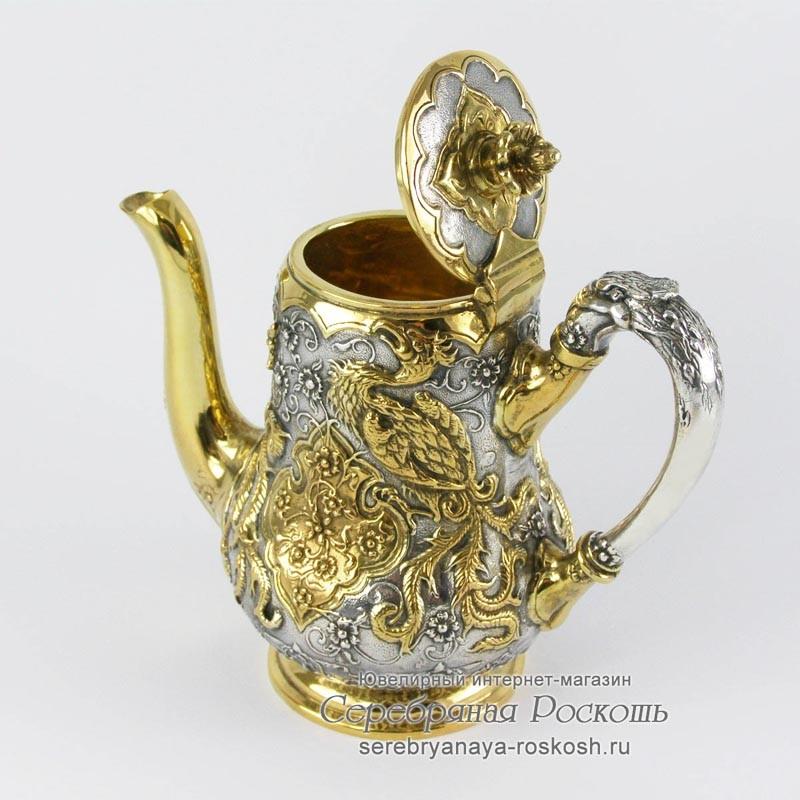 Серебряный кофейник Жар птица
