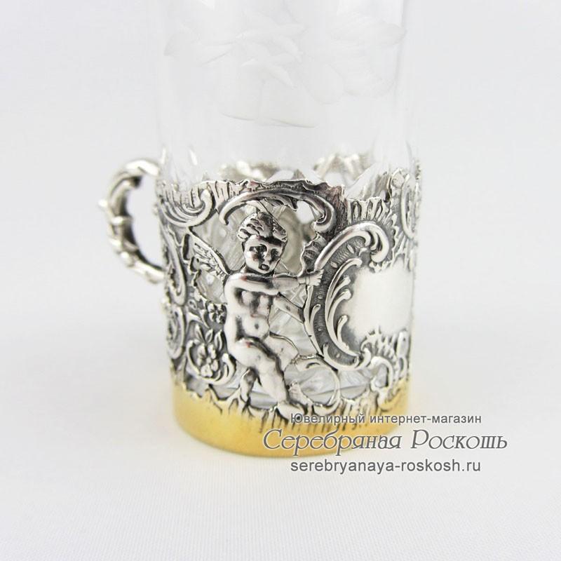 Хрустальная рюмка в серебре - Ангелочек