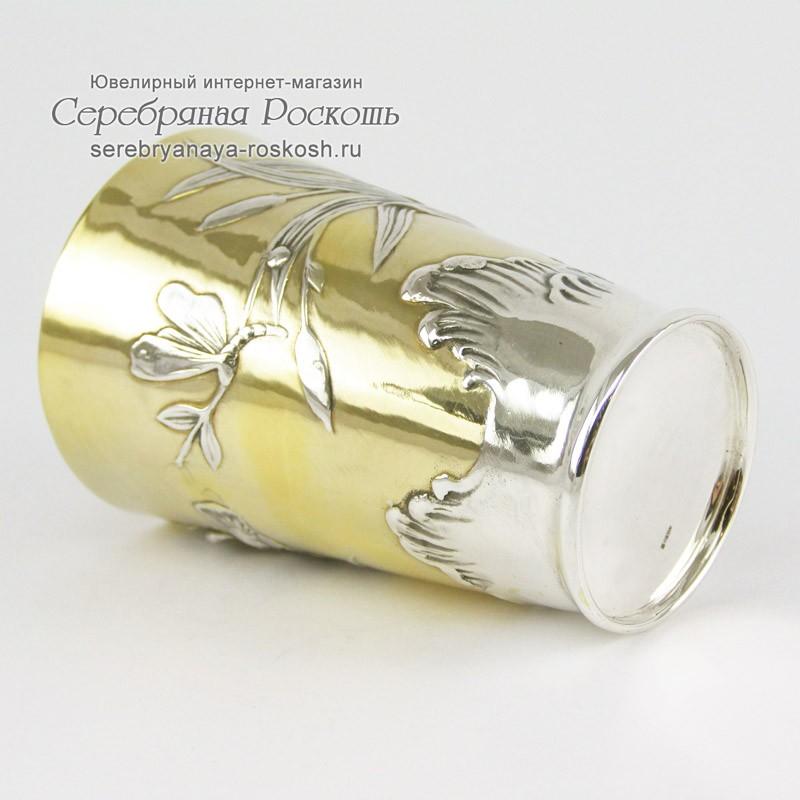 Серебряный стакан Ирисы