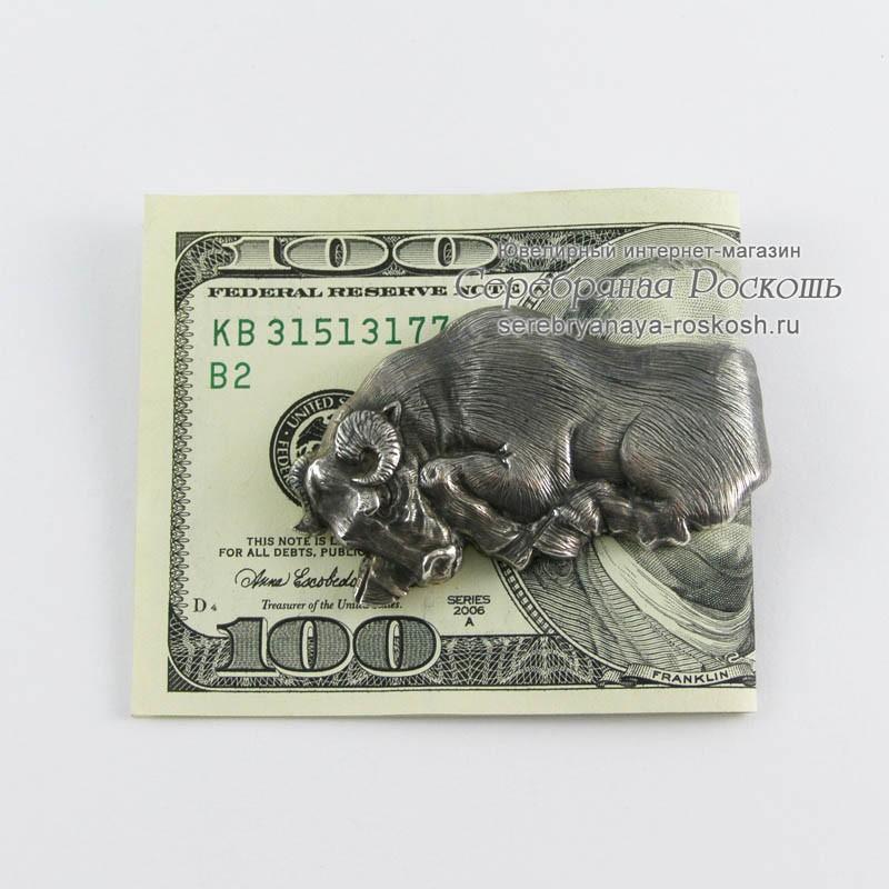 Мужской зажим для денег Бык