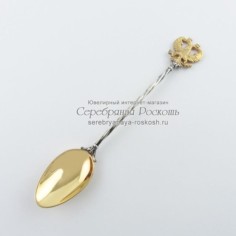 Серебряная чайная ложка Двуглавый Орел